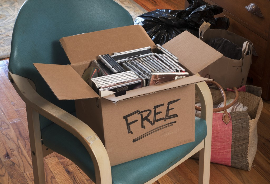 box of free CDs and DVDs