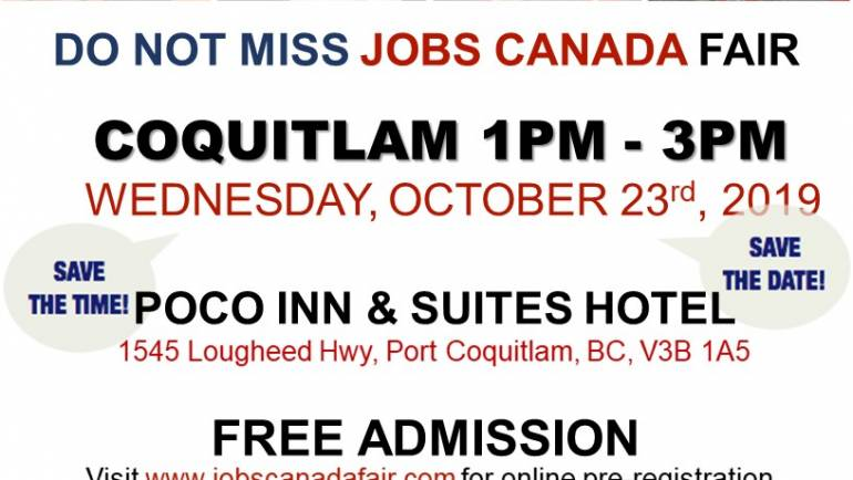 Looking for Work? Come to meet us at Coquitlam Job Fair on October 23th, 2019.